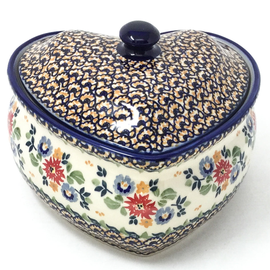 Polish Pottery Heart Covered Server 2 qt in Late Spring Late Spring