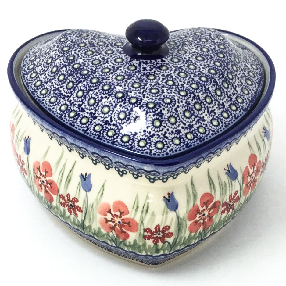 Polish Pottery Heart Covered Server 2 qt in Spring Meadow Spring Meadow