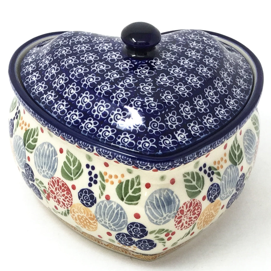Polish Pottery Heart Covered Server 2 qt in Modern Berries Modern Berries