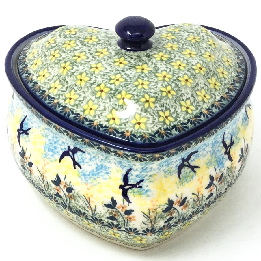 Polish Pottery Heart Covered Server 2 qt in Birds Birds