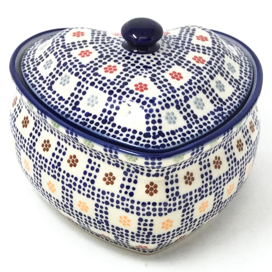 Polish Pottery Heart Covered Server 2 qt in Modern Checkers Modern Checkers