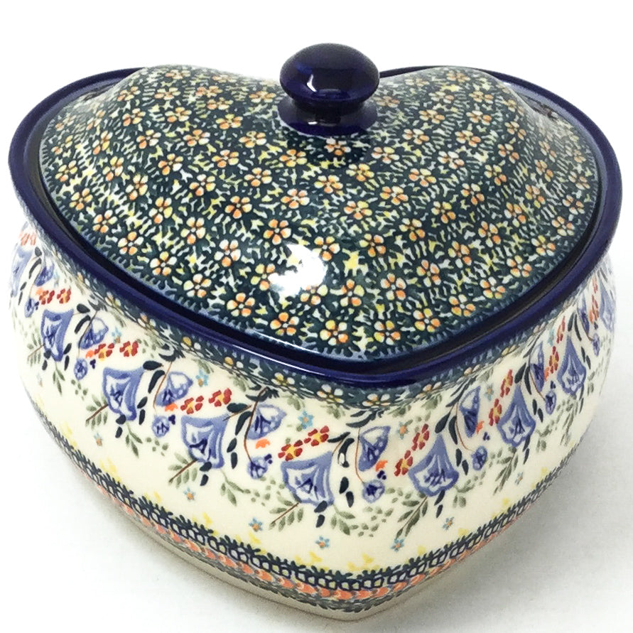 Polish Pottery Heart Covered Server 2 qt in Autumn Autumn
