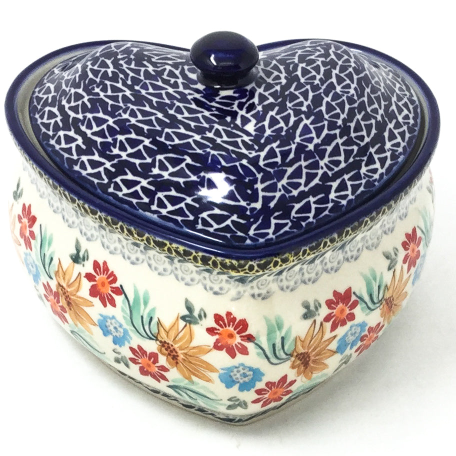 Polish Pottery Heart Covered Server 2 qt in Late Fall Late Fall