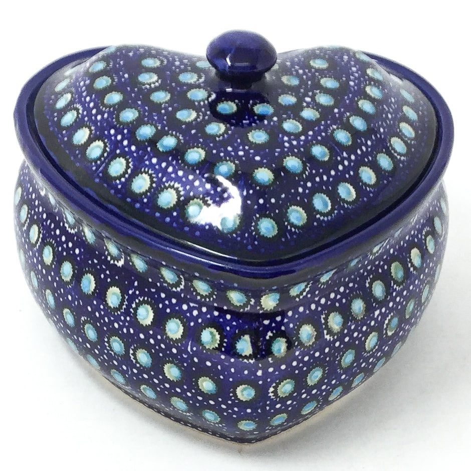 Polish Pottery Heart Covered Server 2 qt in Blue Moon Blue Moon