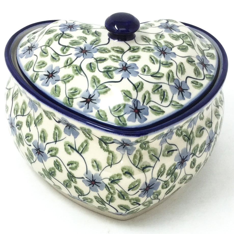 Polish Pottery Heart Covered Server 2 qt in Blue Clematis Blue Clematis
