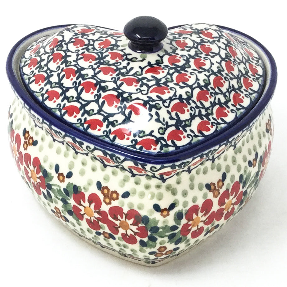 Polish Pottery Heart Covered Server 2 qt in Red Poppies Red Poppies