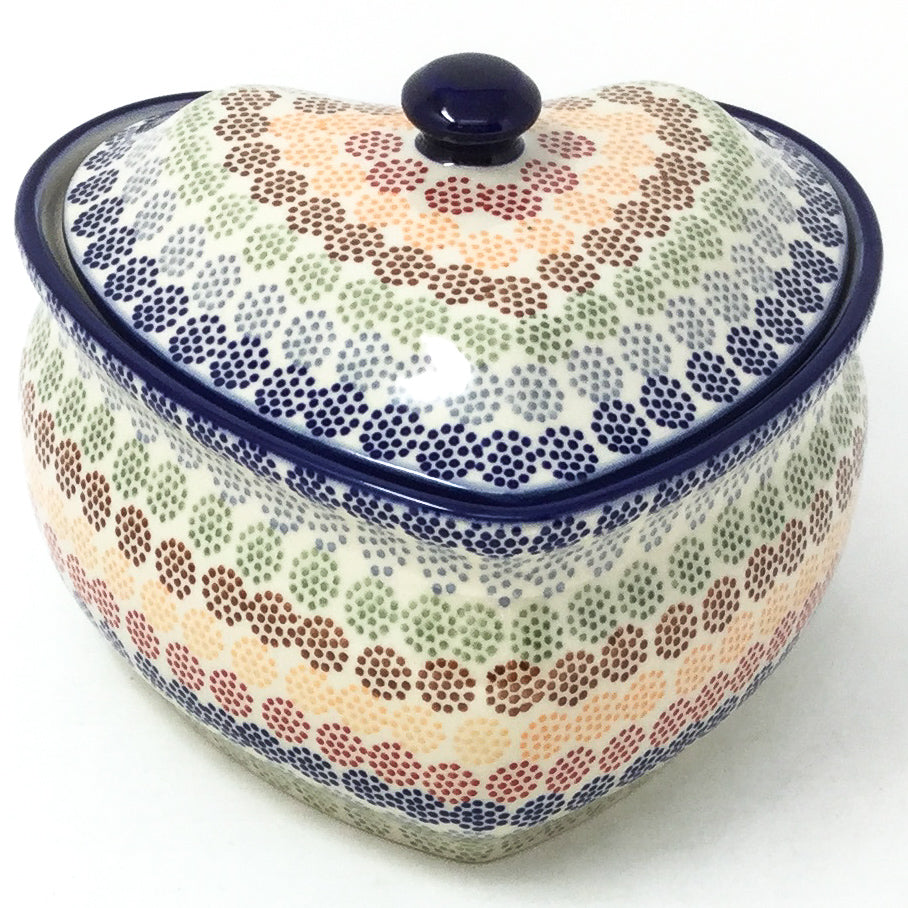 Polish Pottery Heart Covered Server 2 qt in Modern Dots Modern Dots