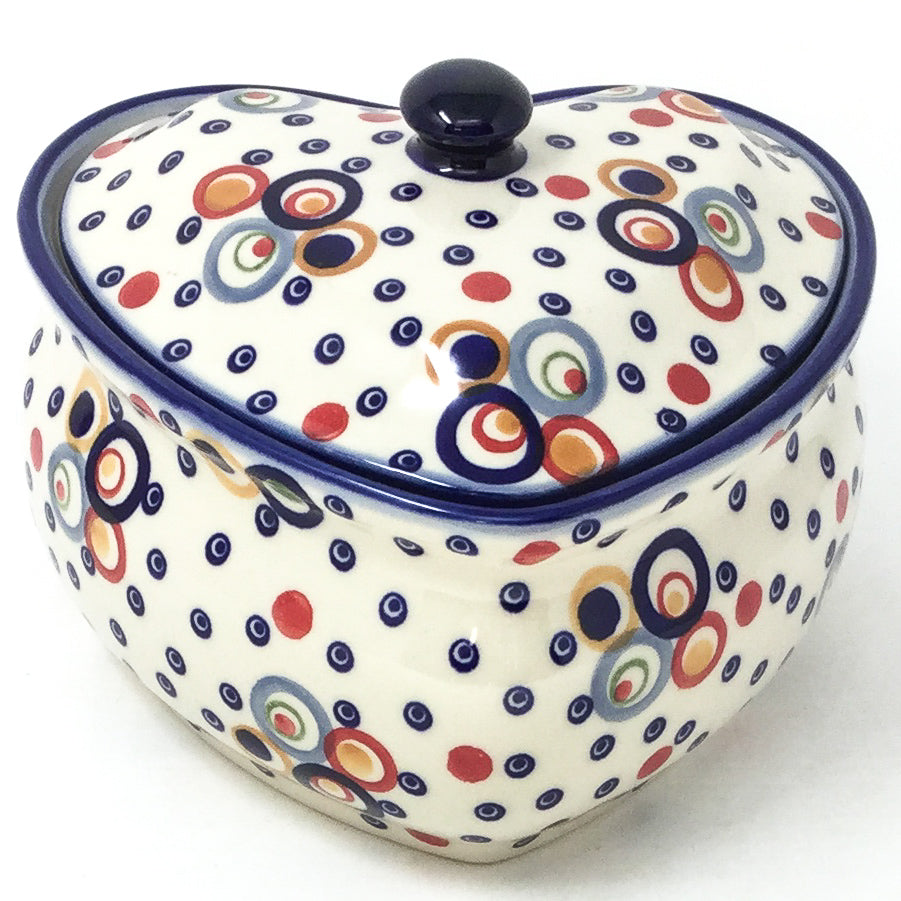 Polish Pottery Heart Covered Server 2 qt in Modern Circles Modern Circles
