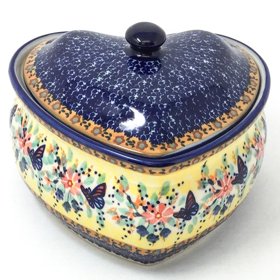 Polish Pottery Heart Covered Server 2 qt in Butterfly Meadow Butterfly Meadow