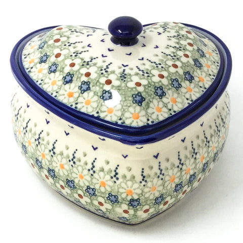 Polish Pottery Heart Covered Server 2 qt in Spring Spring