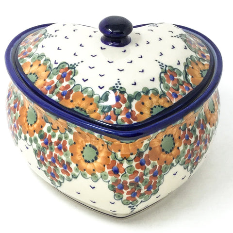 Polish Pottery Heart Covered Server 2 qt in Fall Fall