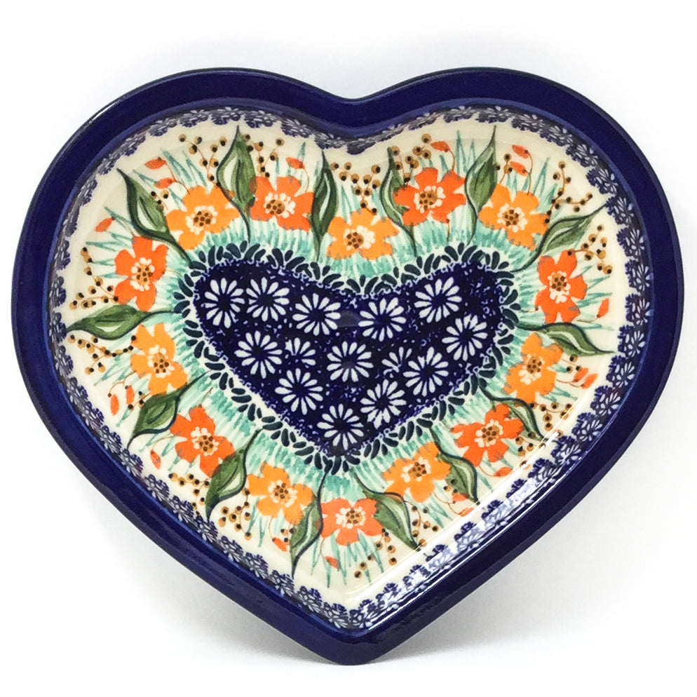 Polish Pottery Heart Server in Sunshine Meadow Sunshine Meadow