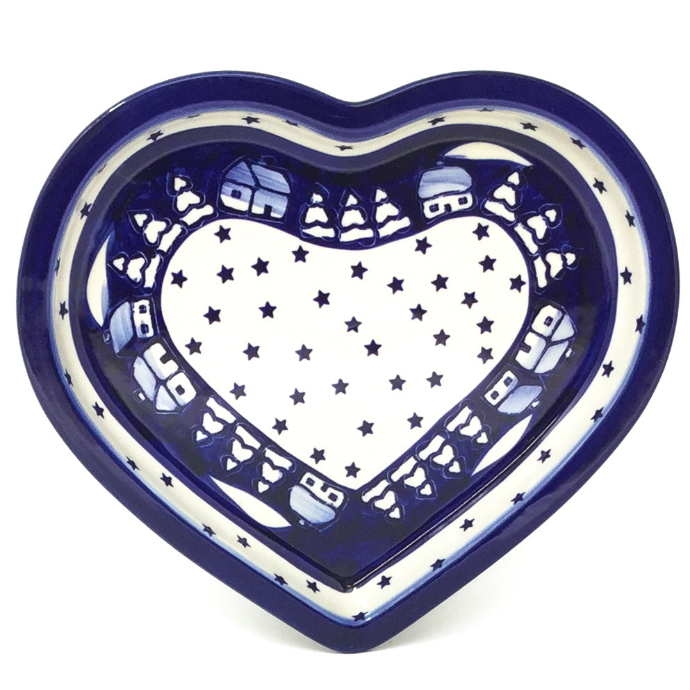 Polish Pottery Heart Server in Winter Winter