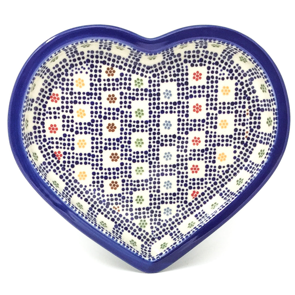 Polish Pottery Heart Server in Modern Checkers Modern Checkers