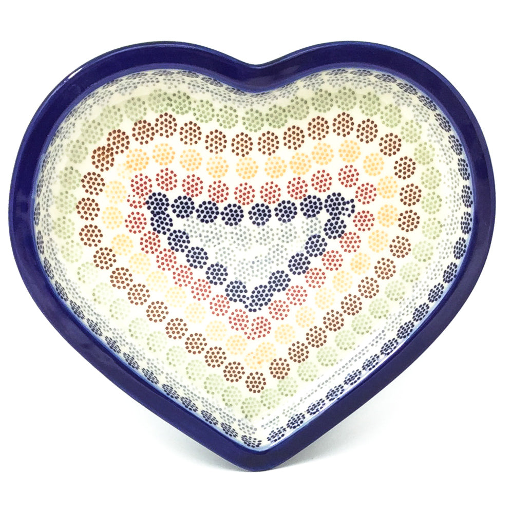 Polish Pottery Heart Server in Modern Dots Modern Dots