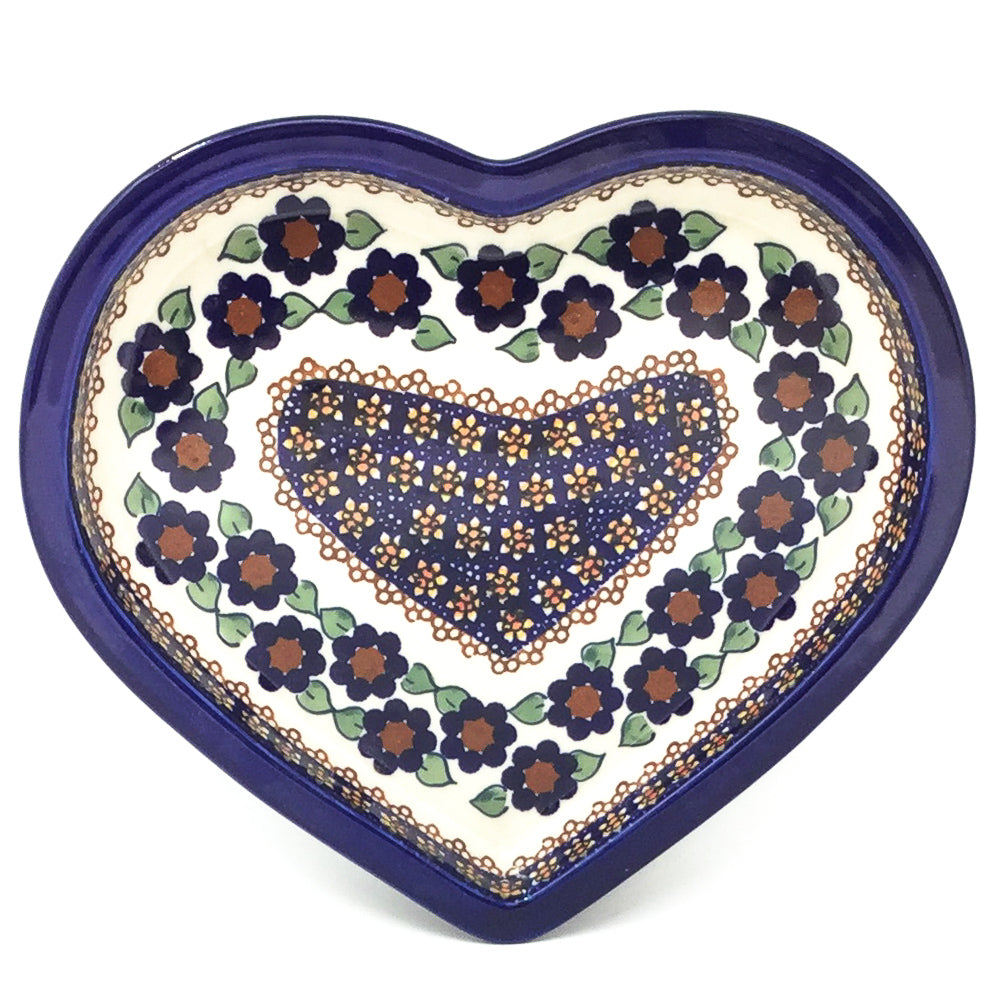 Polish Pottery Heart Server in Petunia Petunia