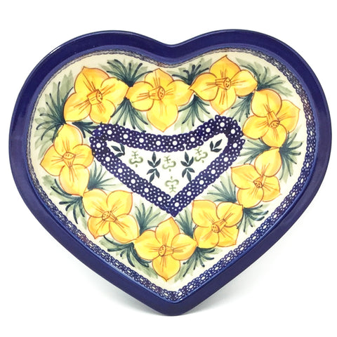 Polish Pottery Heart Server in Daffodils Daffodils