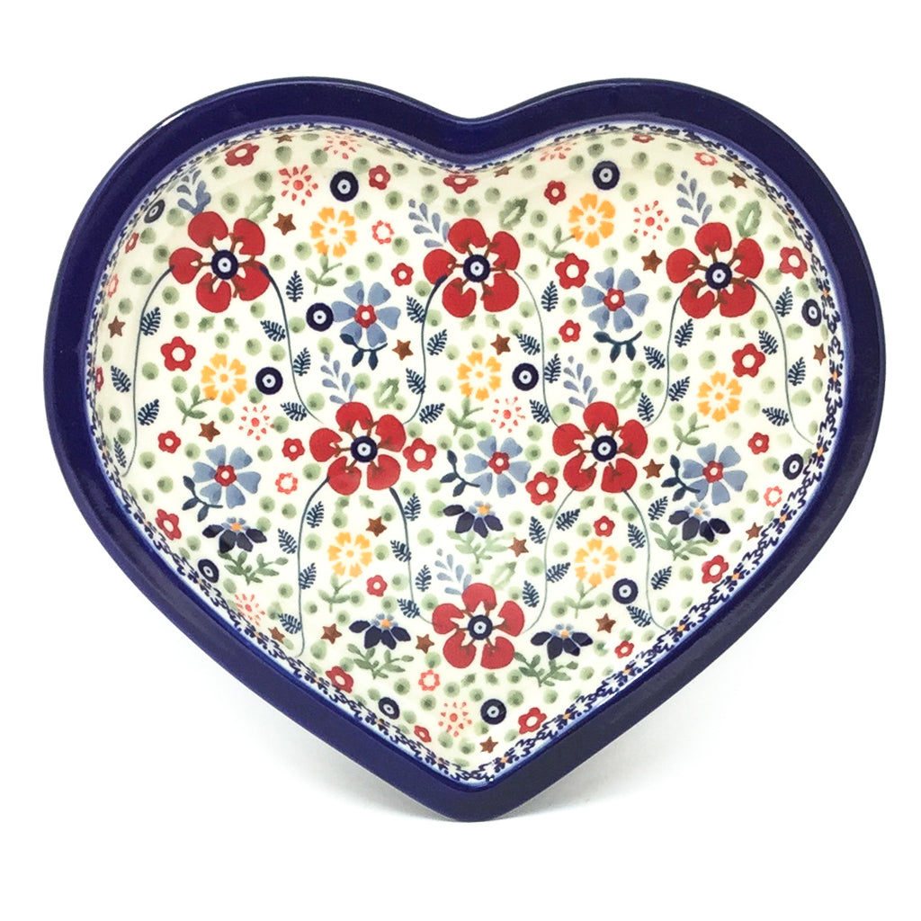 Polish Pottery Heart Server in Summer Arrangement Summer Arrangement