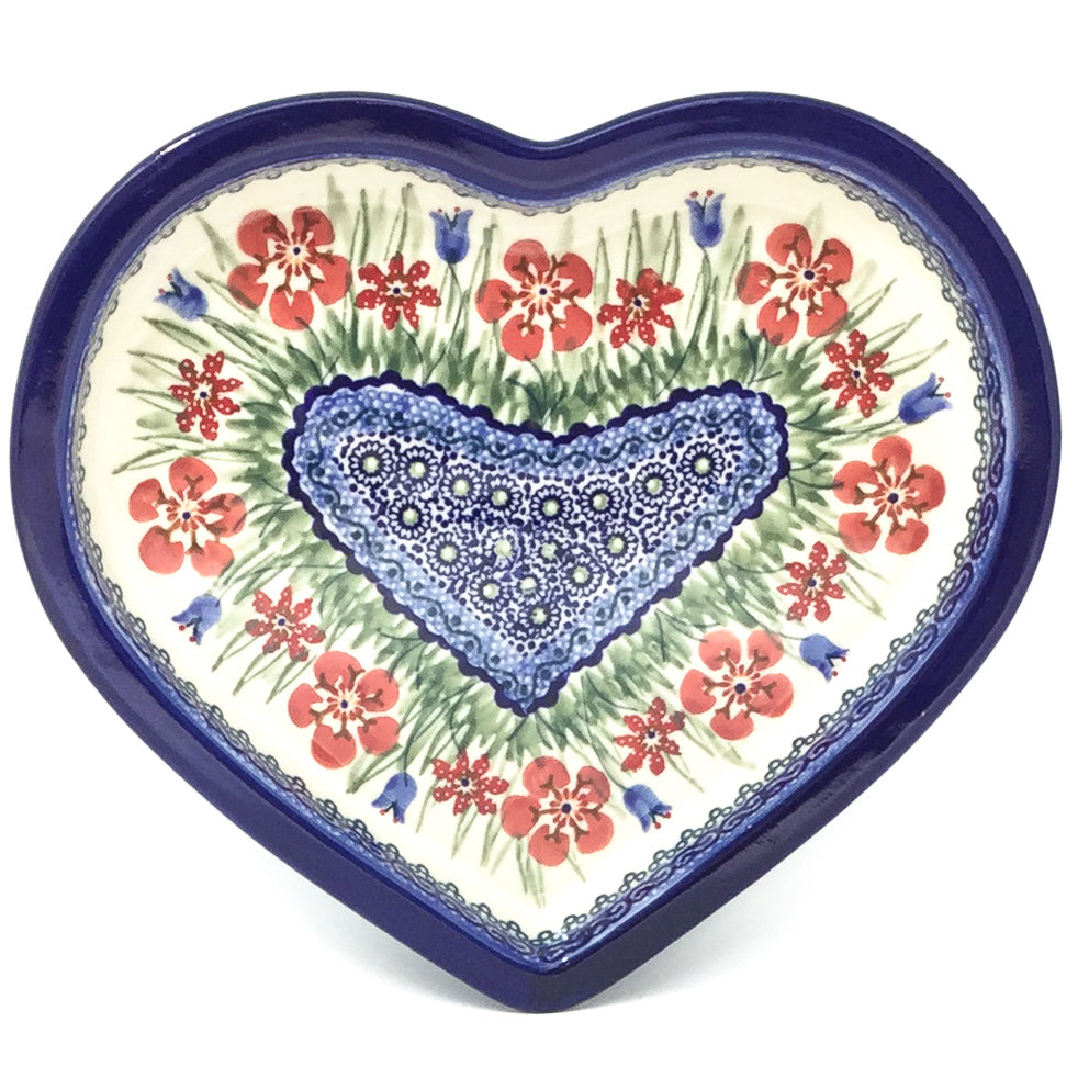 Polish Pottery Heart Server in Spring Meadow Spring Meadow