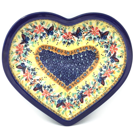 Polish Pottery Heart Server in Butterfly Meadow Butterfly Meadow