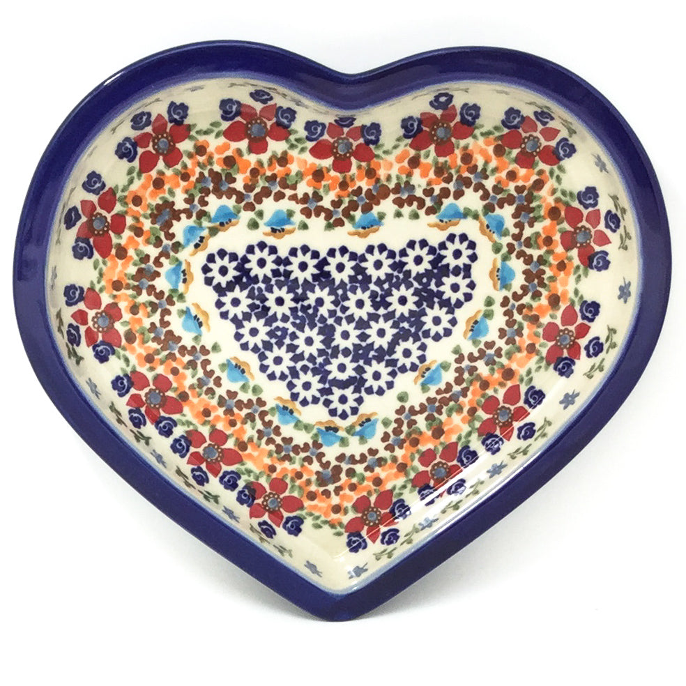Polish Pottery Heart Server in Summer Summer