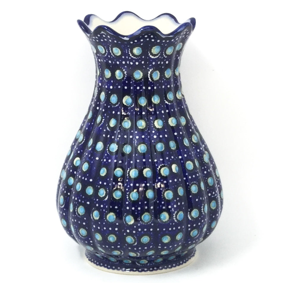 Polish Pottery Scalloped Vase in Blue Moon Blue Moon
