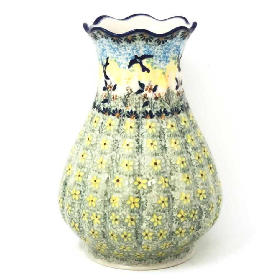 Polish Pottery Scalloped Vase in Birds Birds