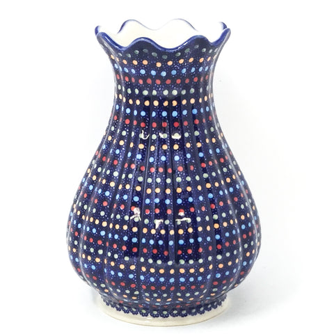 Polish Pottery Scalloped Vase in Multi-Colored Dots Multi-Colored Dots