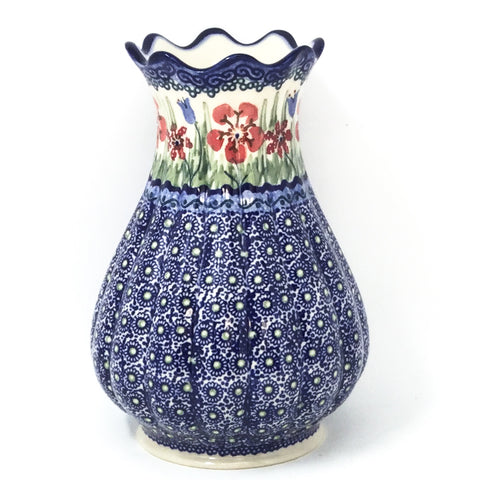 Polish Pottery Scalloped Vase in Spring Meadow Spring Meadow