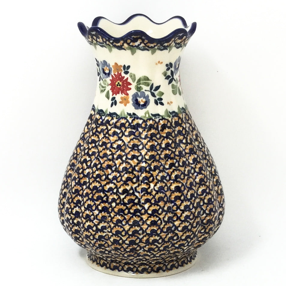 Polish Pottery Scalloped Vase in Late Spring Late Spring