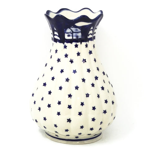 Polish Pottery Scalloped Vase in Winter Winter