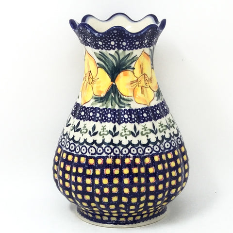 Polish Pottery Scalloped Vase in Daffodils Daffodils