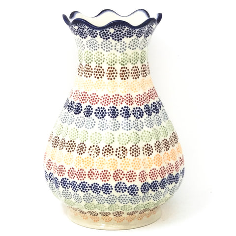 Polish Pottery Scalloped Vase in Modern Dots Modern Dots