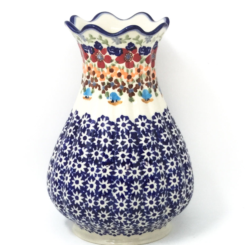 Polish Pottery Scalloped Vase in Summer Summer