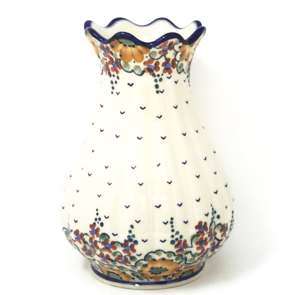 Polish Pottery Scalloped Vase in Fall Fall
