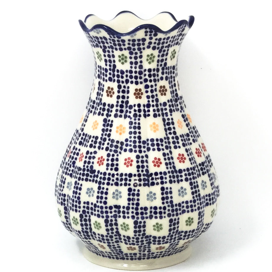 Polish Pottery Scalloped Vase in Modern Checkers Modern Checkers