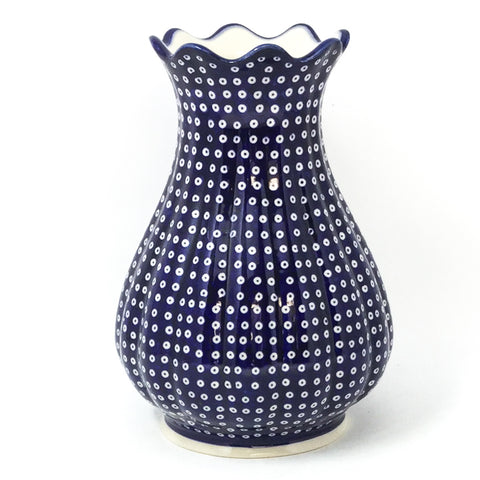Polish Pottery Scalloped Vase in Blue Elegance Blue Elegance