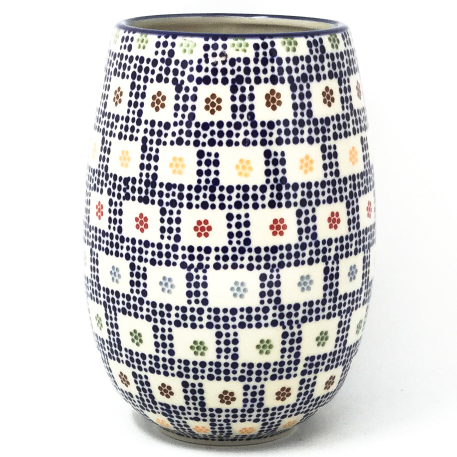 Polish Pottery Bouquet Vase in Modern Checkers Modern Checkers