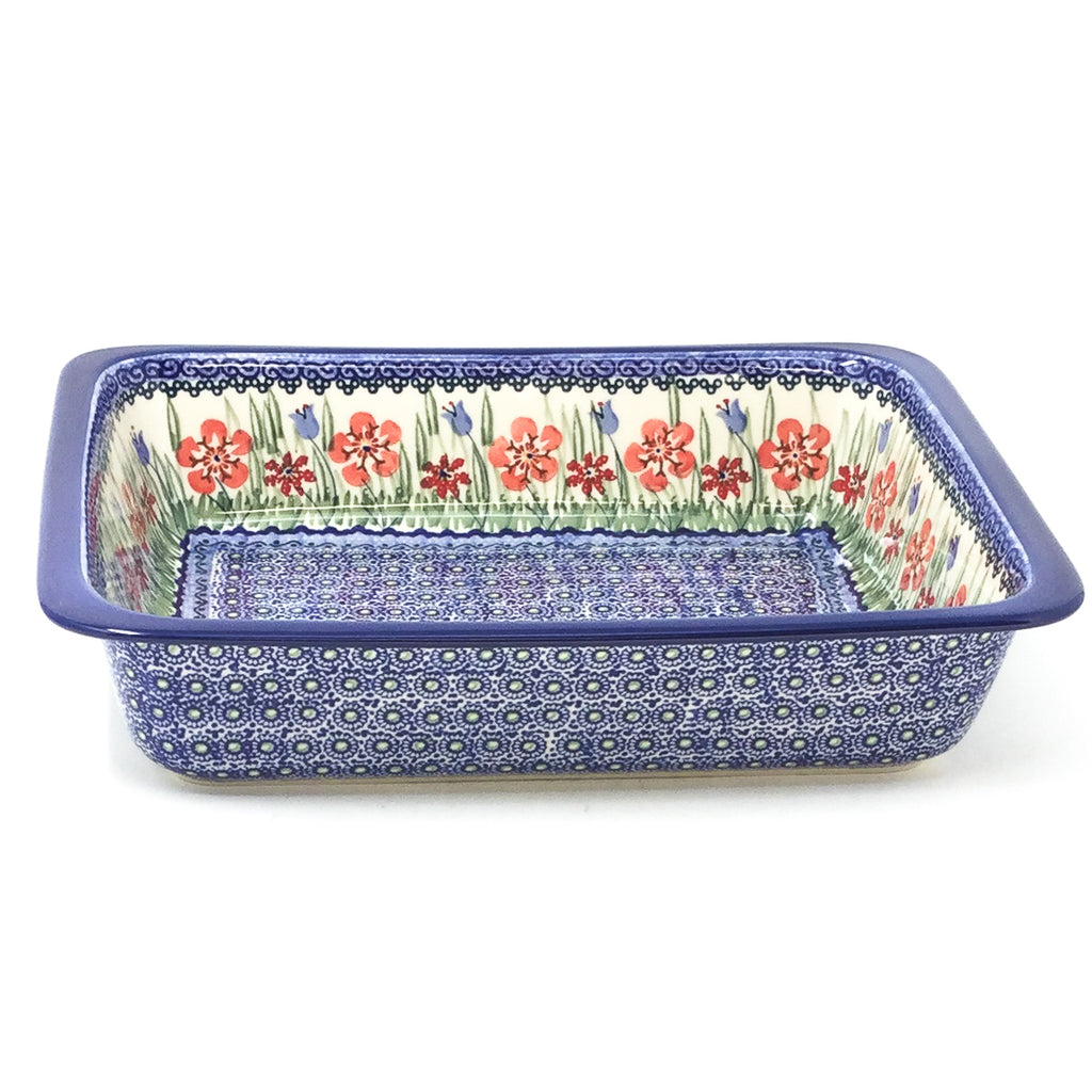 Polish Pottery Deep Rect. Baker in Spring Meadow