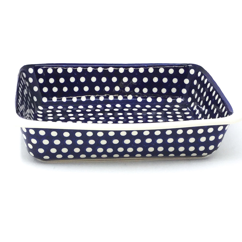 Polish Pottery Deep Rect. Baker in White Polka-Dot White Polka-Dot