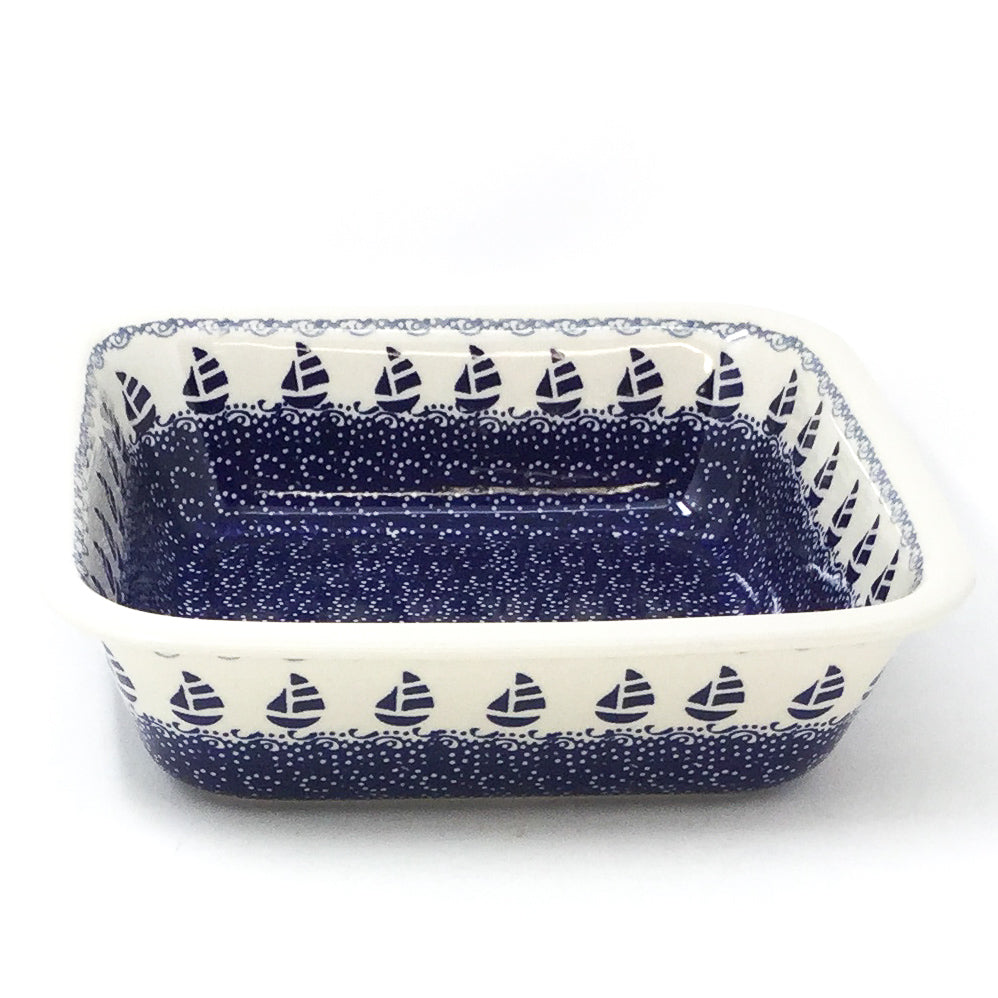 Polish Pottery Deep Square Baker in Sail Regatta Sail Regatta
