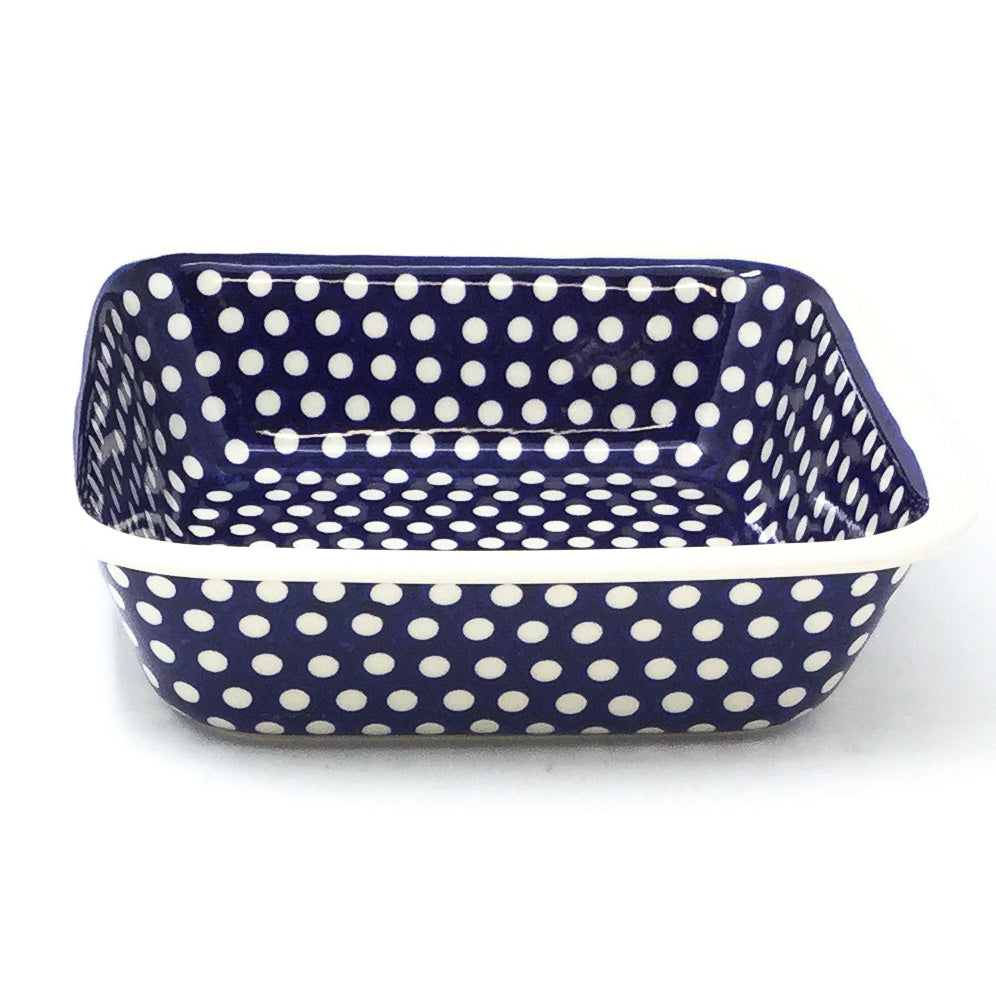 Polish Pottery Deep Square Baker in White Polka-Dot White Polka-Dot