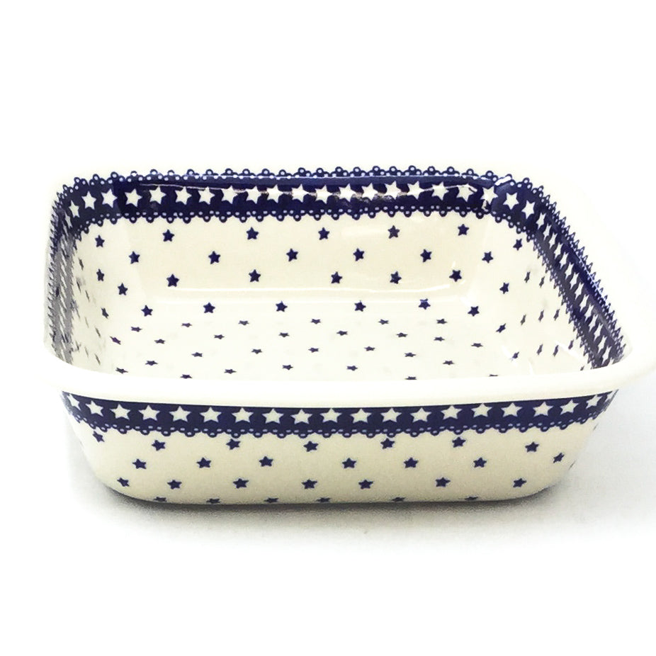Polish Pottery Deep Square Baker in Blue Stars Blue Stars