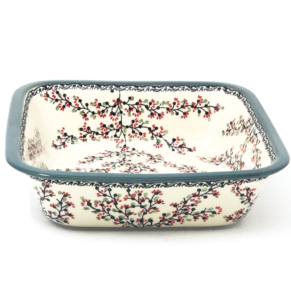 Polish Pottery Deep Square Baker in Japanese Cherry Japanese Cherry