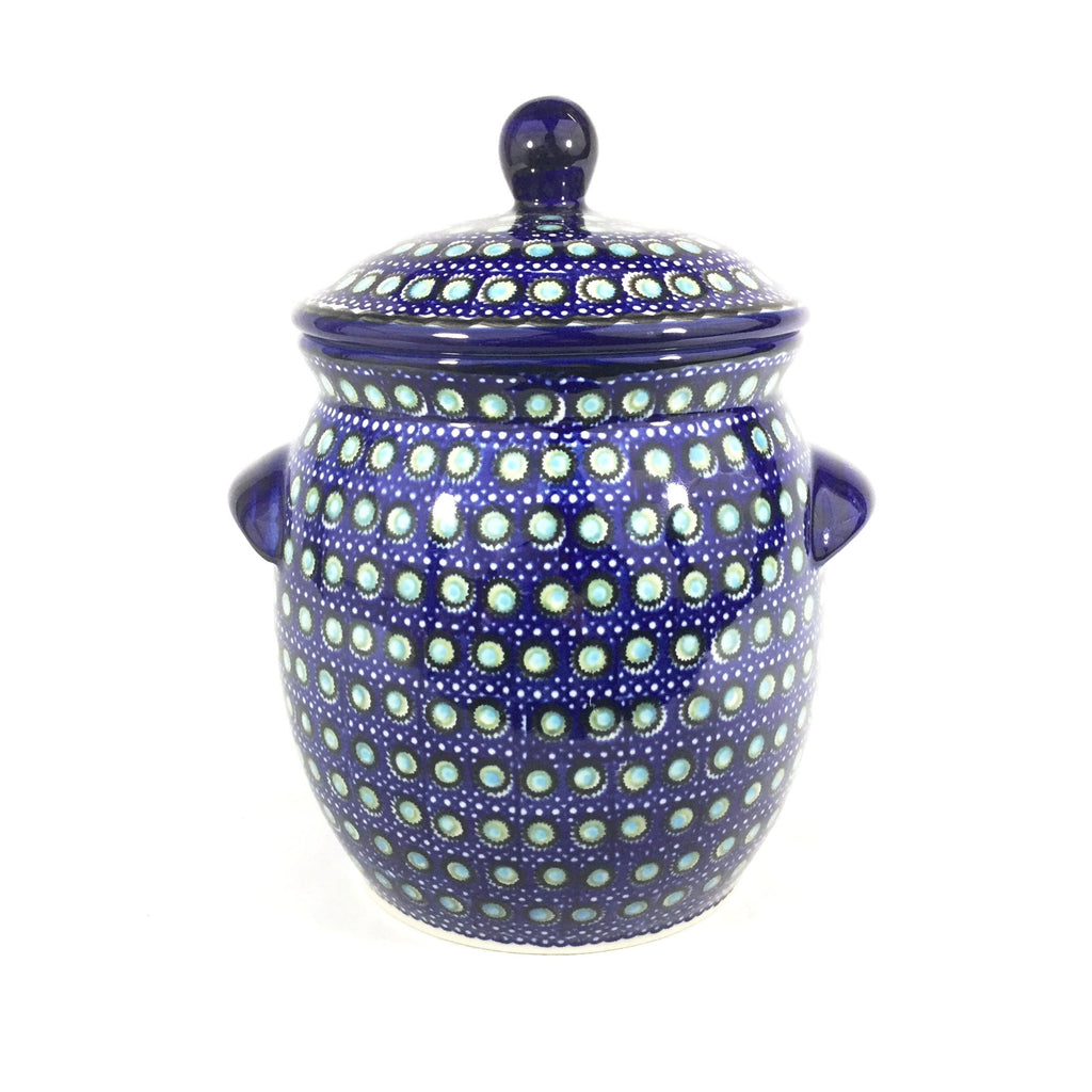 Polish Pottery Lg Canister w/Handles in Blue Moon Blue Moon
