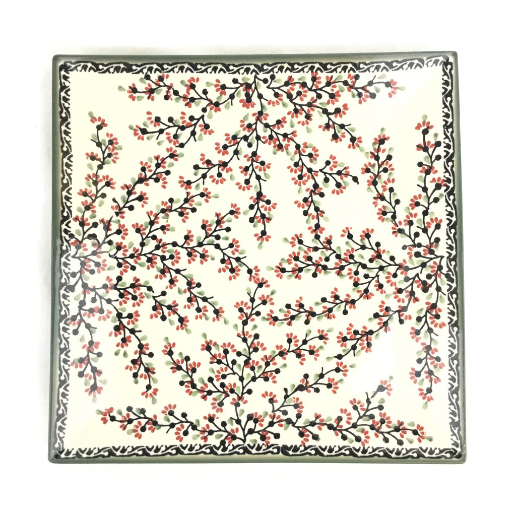 Polish Pottery Square Platter in Japanese Cherry Japanese Cherry