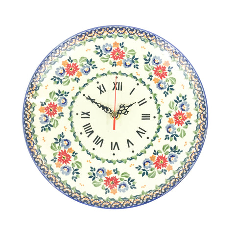 Polish Pottery Plate Wall Clock (Z-144) Late Spring