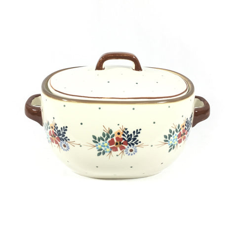 Polish Pottery Covered Keeper 3 qt (B-021) Brown Edge