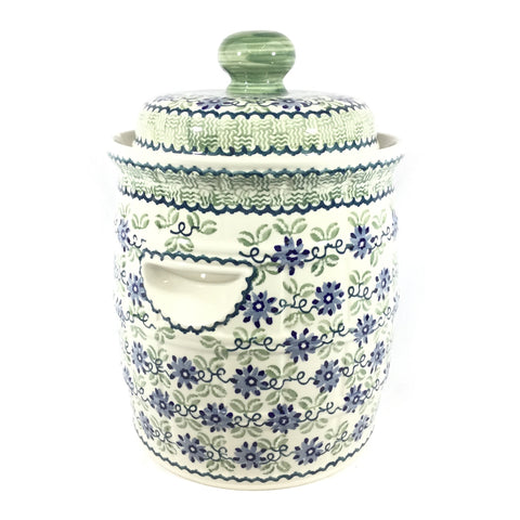Polish Pottery Pickling Barrel 7 qt in Blue and Green Flowers Blue and Green Flowers