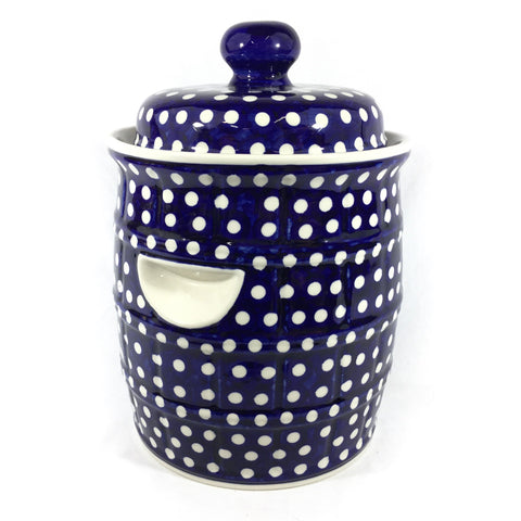 Polish Pottery Pickling Barrel 7 qt (H-001) White Polka-Dot